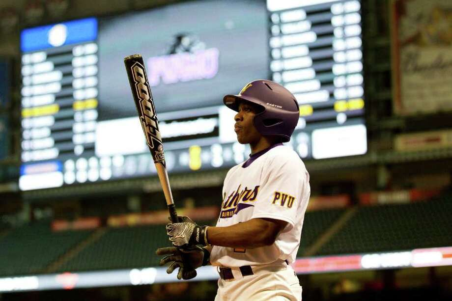 Prairie View outfielder Colby Hines stands in the on-deck circle while waiting for his at-bat against Southern during The Urban Invitational college baseball round-robin tournament at Minute Maid Park Friday, Feb. 17, 2012, in Houston. Southern beat Prairie View 6-0. Photo: Brett Coomer, Houston Chronicle / © 2012 Houston Chronicle