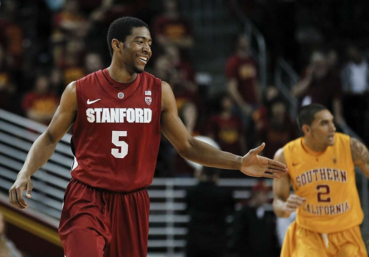Stanford guard Chasson Randle celebrates a basket against Southern California during the second half of an NCAA college basketball game in Los Angeles, Sunday, Feb. 12, 2012.