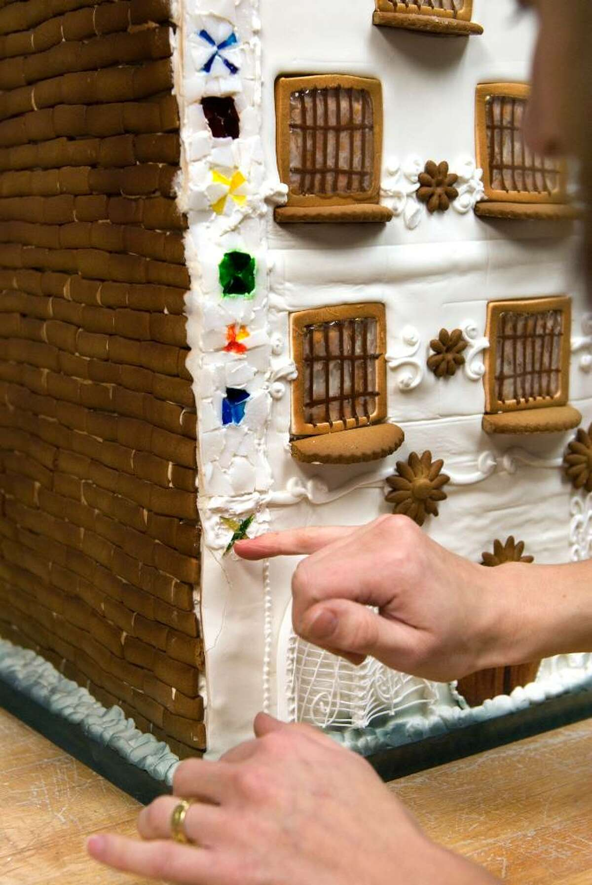 Rebecca Martin, owner of Sweet On You Bakery and Cafe in Stamford, Conn at the JCC, is one of several local chefs who have created gingerbread houses for the Stamford Museum & Nature Center's upcoming exhibit,