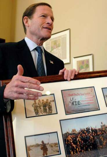 Sen. Richard Blumenthal, D-Conn., in his Washington office on Wednesday, Feb. 15, 2012, with a photo