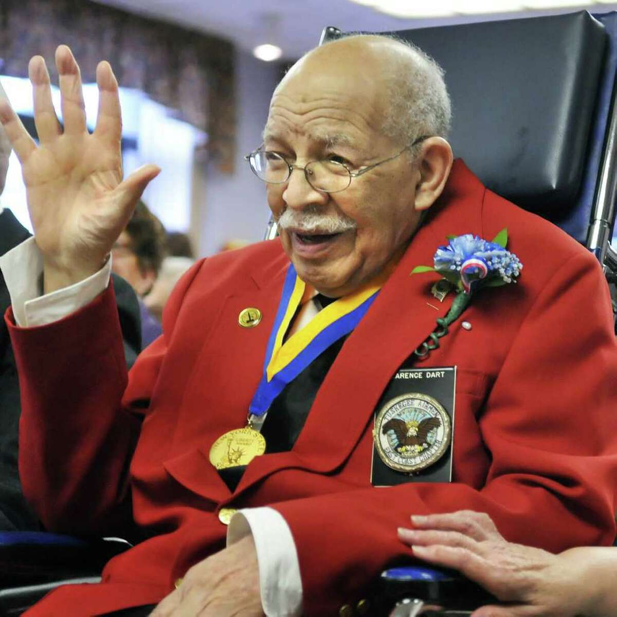 WW II fighter pilot and Tuskegee Airman Clarence Dart during a special ceremony honoring him at the Wesley Nursing Home in Saratoga Springs Wednesday morning April 20, 2011. (John Carl D'Annibale / Times Union)