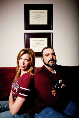 Terri Simmons-Johnson, left, and John Johnson, both A&M graduates, are in debate over whether or not the A&M dance team should be allowed to dance on Kyle Field. Terri was a founding member of the dance team in the early 90's and thinks the team should be allowed to dance on the field. Her husband Jon is against the idea. Photo: Eric Kayne / © 2011 Eric Kayne