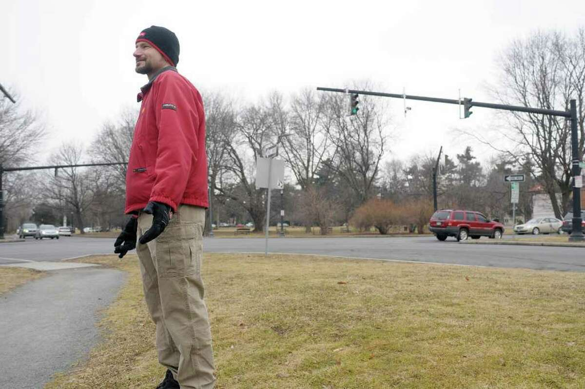 George de Piro of Albany stands near the intersection of Lancaster St. and Washington Park Road during an interview on Thursday, Feb. 16, 2012 in Albany, NY where he talked about areas that are dangerous for pedestrians. (Paul Buckowski / Times Union)