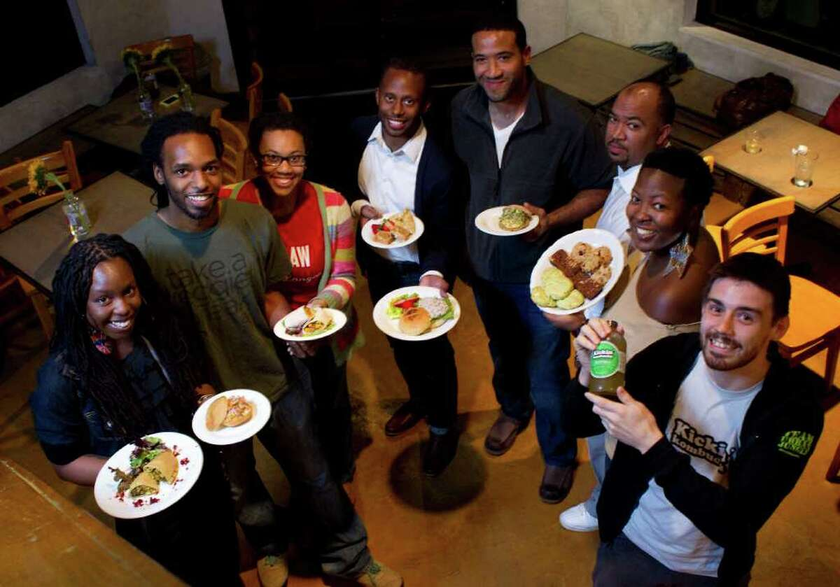 The budding entrepreneurs at Eat Gallery include, from left: Keisha Bocage, Rodney Perry, Matti Merrell, Devon Fanfair, Chris Wiliams, Ben Williams, Ella Russell and Robert Lopez.
