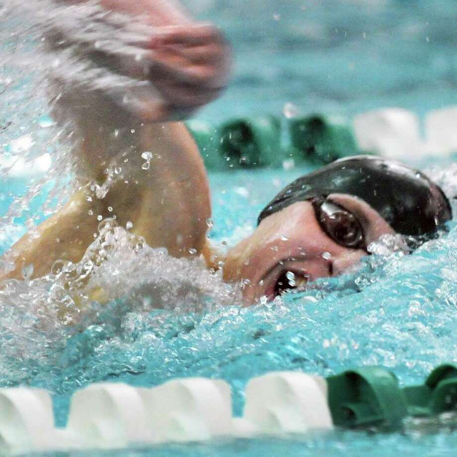 Shen's Ryan Gordon competes in the 200 Yard Freestyle at the boys' swimming sectionals at the Shenendehowa High School pool in Clifton Park Saturday Feb. 18, 2012.   (John Carl D'Annibale / Times Union) Photo: John Carl D'Annibale / 00016413A