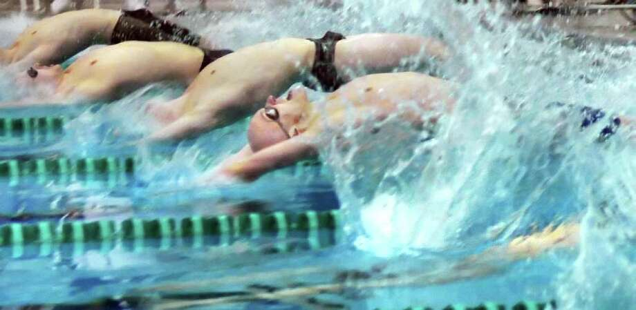 Start of the 200 Yard Medley relay at the boys' swimming sectionals at the Shenendehowa High School pool in Clifton Park Saturday Feb. 18, 2012.   (John Carl D'Annibale / Times Union) Photo: John Carl D'Annibale / 00016413A