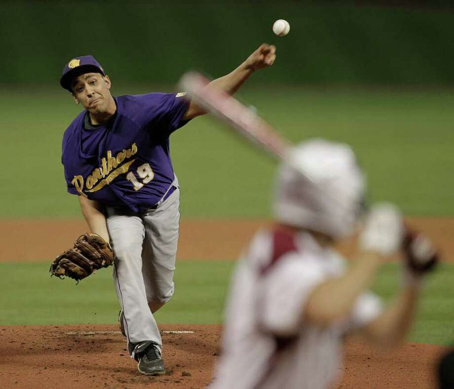 Prairie View pitcher Derrick Mitchell #19 throws in the first inning during a baseball game between Prairie View and Texas Southern as part of the Urban Invitational Saturday, Feb. 18, 2012 at Minute Maid Park. Photo: Bob Levey, Houston Chronicle / ©2012 Bob Levey