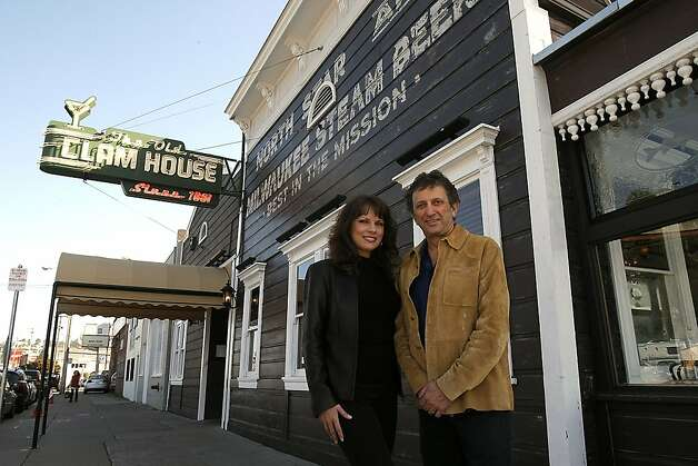 "Jennifer (left) and Jerry Dal Bozzo, the new owners in front of  ""The Old Clam House"" in San Francisco, California, February 17, 2012. The restaurant is one of the oldest in the West and is celebrating it's 150 year anniversary. Photo: Siana Hristova, The Chronicle"
