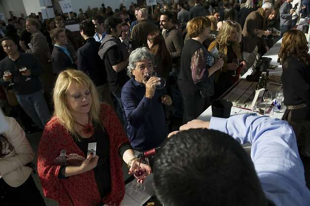 The crowds sample the wines during the San Francisco Chronicle Wine Competition, Saturday February 18, 2012 in San Francisco, Calif. Photo: David Paul Morris, Special To The Chronicle