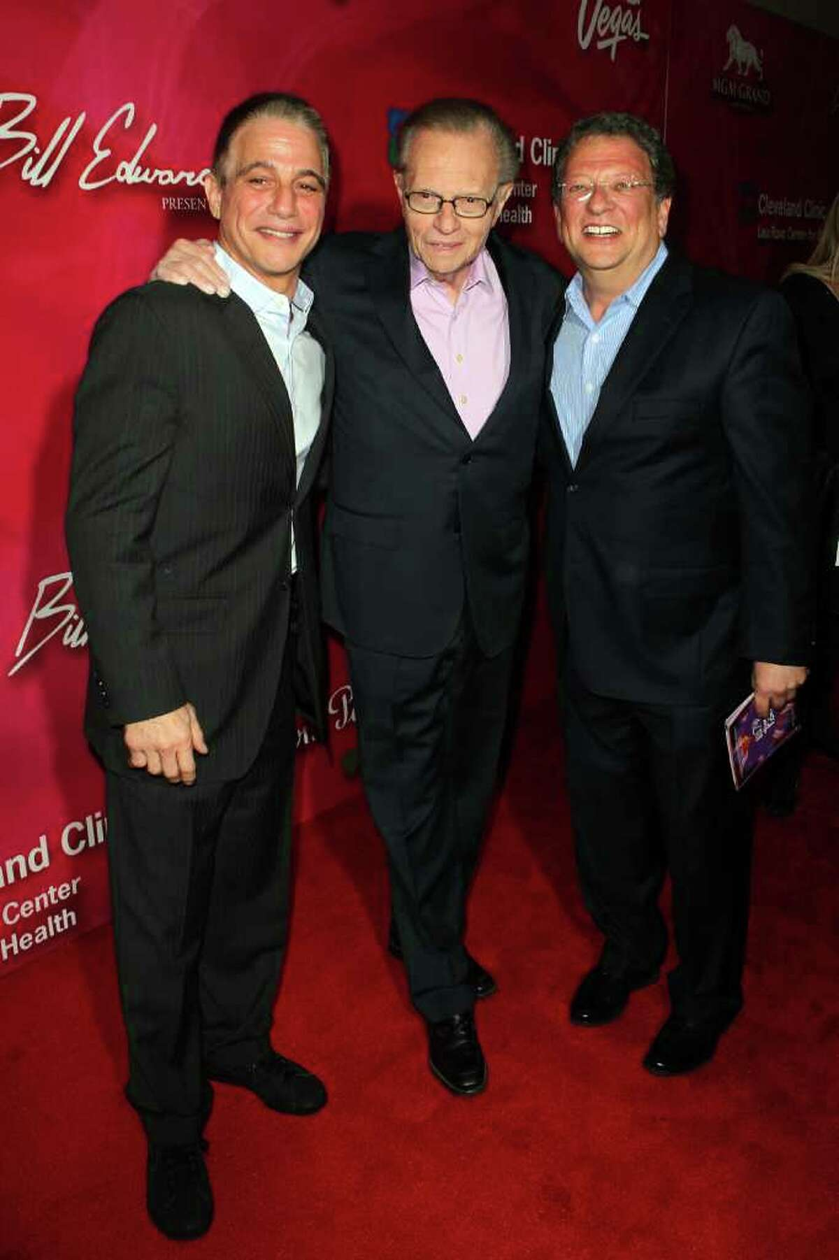 Actor Tony Danza, television personality Larry King and sportscaster Charley Steiner arrive at the Keep Memory Alive 16th Annual