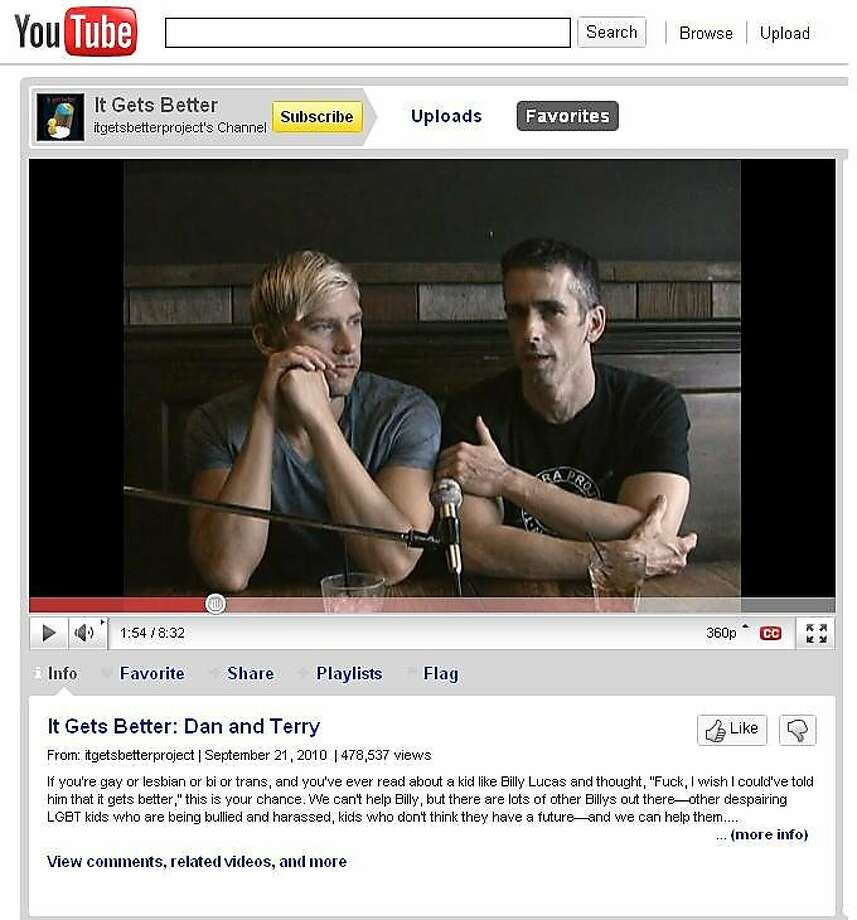 Dan Savage and his partner Terry Miller speak during the original It Gets Better video, filmed in September. Photo: It Gets Better Project