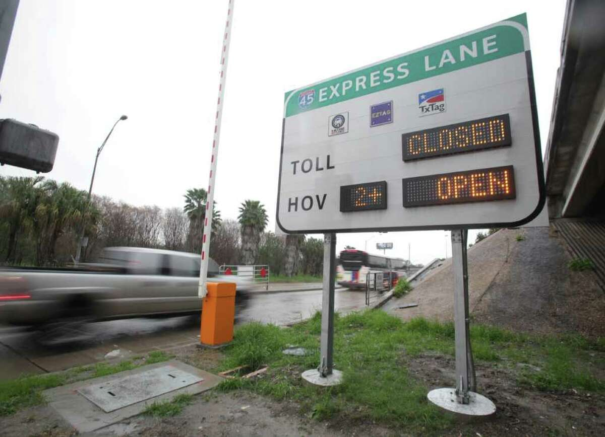 Solo drivers willing to pay a fee to get to work or home faster can take the various Gulf Freeway Hot Lane access ramps, such as this one at Pierce and Dowling, starting Monday.