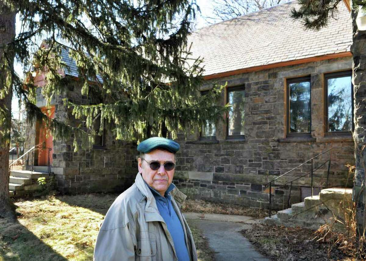 Historian Bill Connelly of Gansevoort outside the former St. Margaret's Episcopal Church in Menands Thursday Feb. 9, 2012. (John Carl D'Annibale / Times Union)