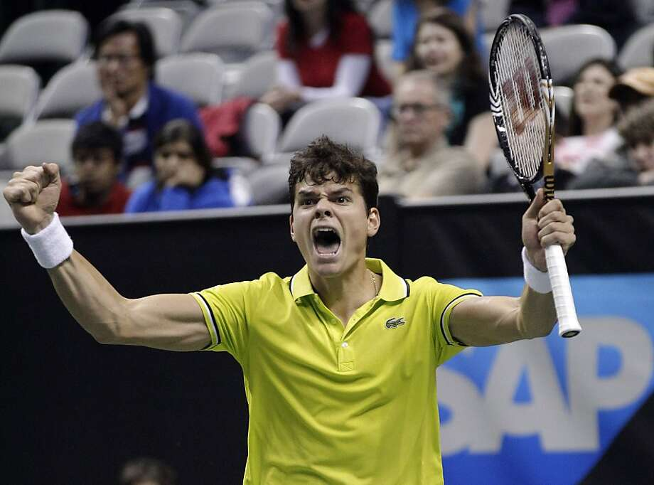 Milos Raonic celebrates his win over Denis Istomin for his second straight SAP Open title. Photo: Marcio Jose Sanchez, Associated Press