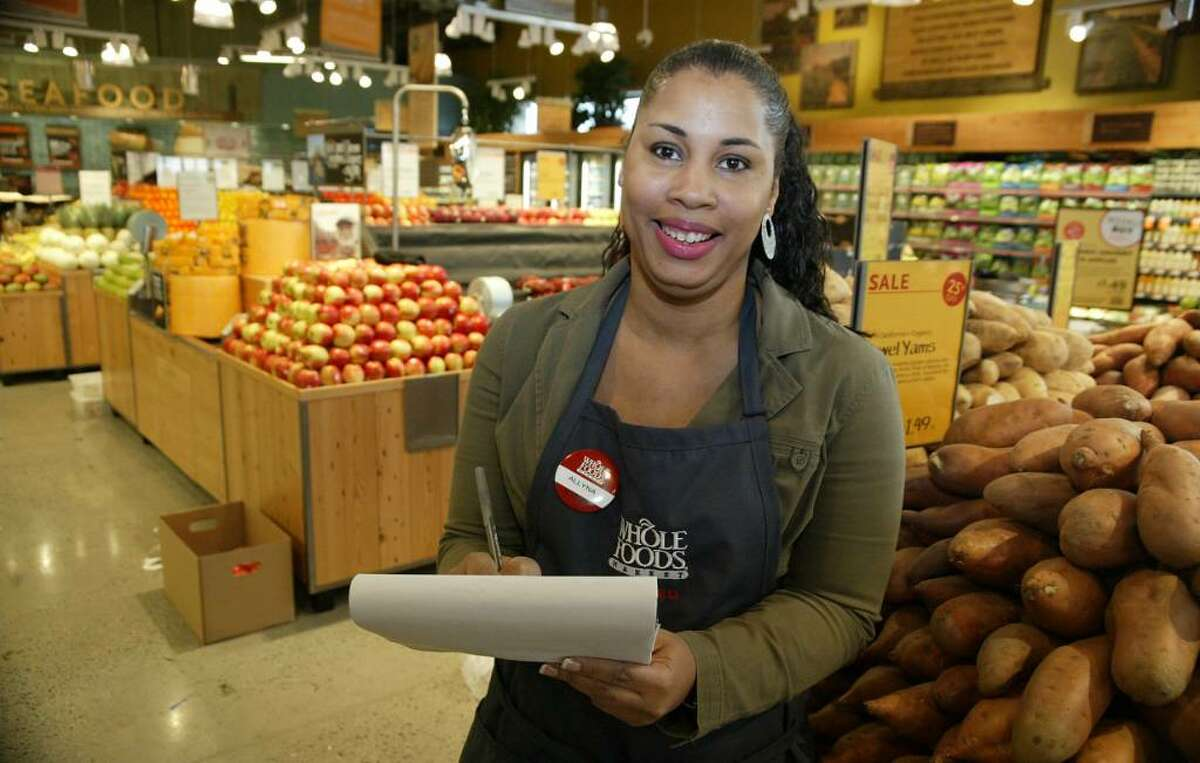 Aleyna Heath of New Haven has found a job with the new Whole Foods Market in Milford after being laid off twice in 2008.