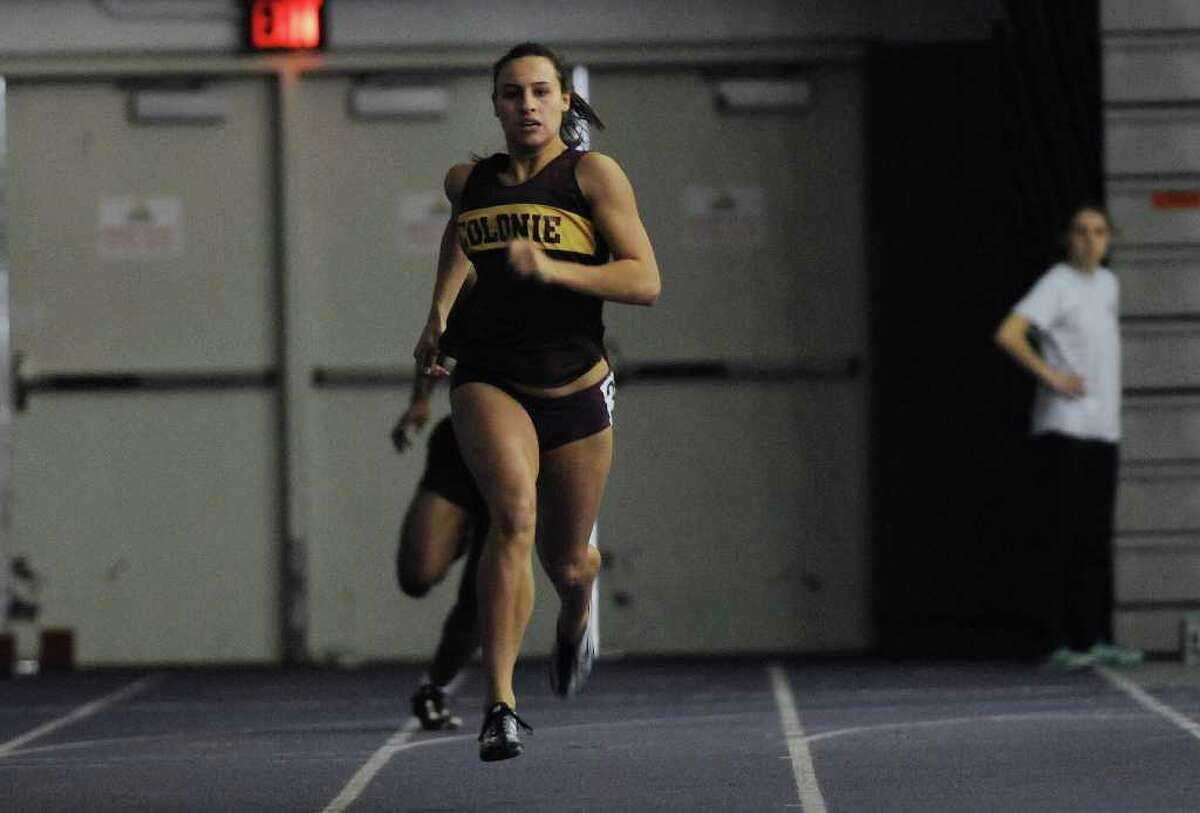 Kyle Plante of Colonie makes her way to the finish line for a win in her heat of the 300 meter finals during the Section II Large-School Indoor Track and Field Championships at the SEFCU Arena on the campus of University at Albany on Sunday, Feb. 19, 2012 in Albany, NY. (Paul Buckowski / Times Union)