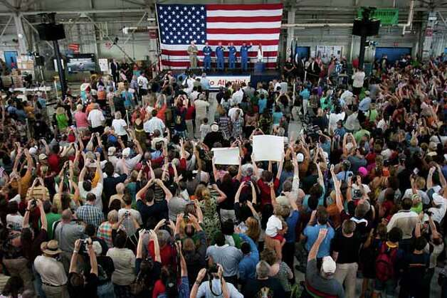 A large crowd of supporters welcomes home the crew of STS-135 during a ceremony for the crew of the space shuttle Atlantis, the final mission of the NASA shuttle program, at Ellington Field in Houston on Friday, July 22, 2011. Photo: Smiley N. Pool, Houston Chronicle / © 2011  Houston Chronicle