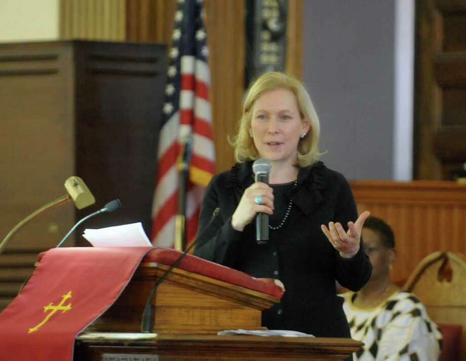 U.S. Senator Kirsten Gillibrand addresses those gathered during service at Wilborn Temple First Church of God in Christ on Sunday, Feb. 19, 2012 in Albany, NY.  The service was part of The New York State Association of Black and Puerto Rican Legislators, Inc. weekend.  (Paul Buckowski / Times Union) Photo: Paul Buckowski