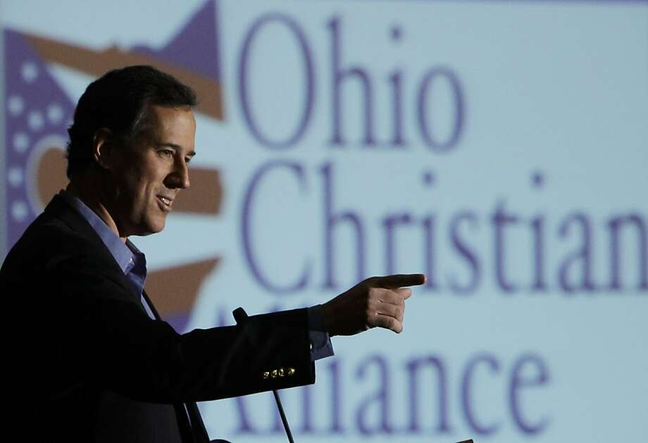 Republican presidential candidate, former Pennsylvania Sen. Rick Santorum during a Ohio Christian Alliance luncheon, Saturday, Feb. 18, 2012, in Columbus, Ohio.  (AP Photo/Eric Gay) Photo: Eric Gay, Associated Press
