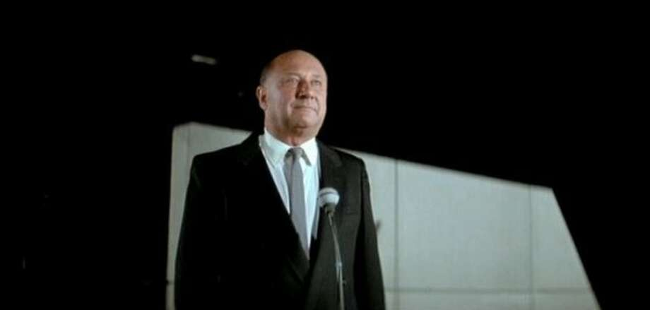 "6. The President (""Escape from New York,"" 1981): Played by Donald Pleasence, crime is up 400 percent and Manhattan is now a prison colony -- apparently under his watch. Refuses to credit super-hot Adrienne Barbeau with saving his life. (AVCO Embassy Pictures)"