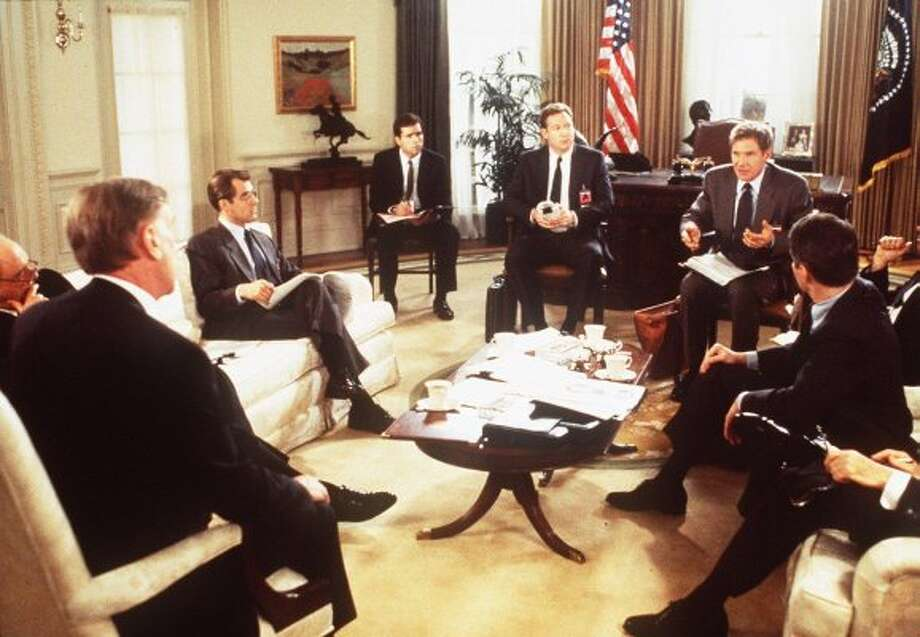 "5. President Bennett (""Clear and Present Danger,"" 1993): Our leader (played by Donald Moffat, far left) starts secret war between U.S. and Colombian drug lords, leaves a military team for dead, then tries to frame Jack Ryan. How dare you, sir! (Paramount Pictures)"
