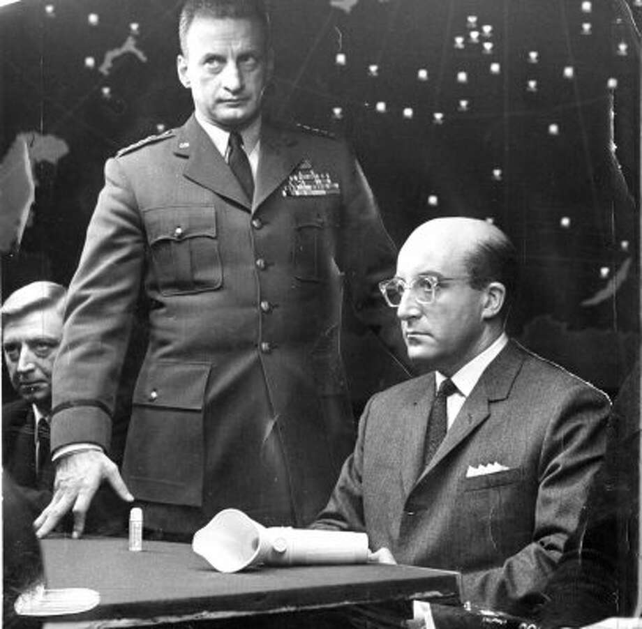 "2. Merkin Muffley (""Dr. Strangelove,"" 1964): The in-over-his-head president (Peter Sellers) appointed horrible advisers. He's responsible for the apocalypse, after enacting law that removed presidential approval from nuclear airstrikes. (Columbia Pictures)"