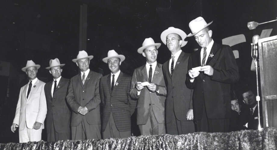 On July 4, 1962, the original seven astronauts were introduced to Houstonians at the Sam Houston Coliseum downtown. From left, they were Scott Carpenter, Gordon Cooper, John Glenn, Gus Grissom, Wally Schirra, Alan Shepard and Donald Slayton. Photo: NASA / handout
