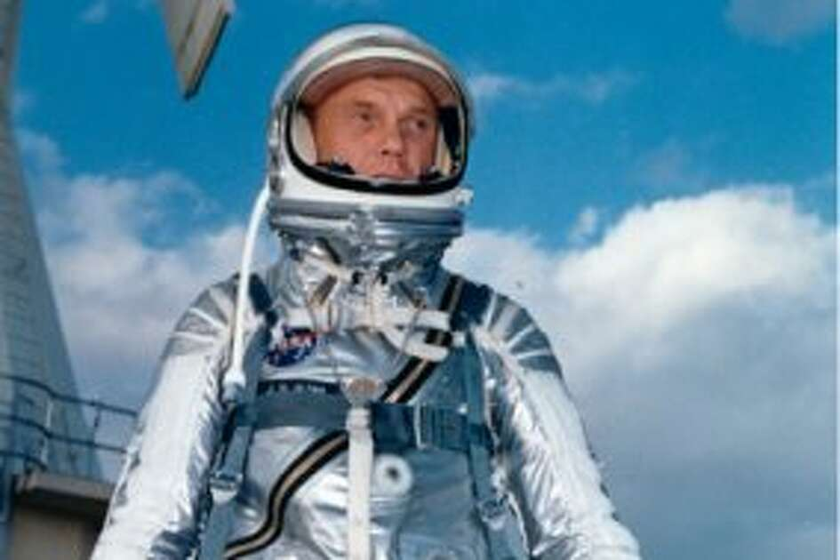 Astronaut John H. Glenn, Jr., wearing a Mercury pressure suit, was the pilot of the Mercury-Atlas 6 (MA-6) mission.  Glenn made America's first manned Earth-orbital space flight on Feb. 20, 1962.  This photograph was taken at Cape Canaveral during MA-6 preflight training activities. (NASA)