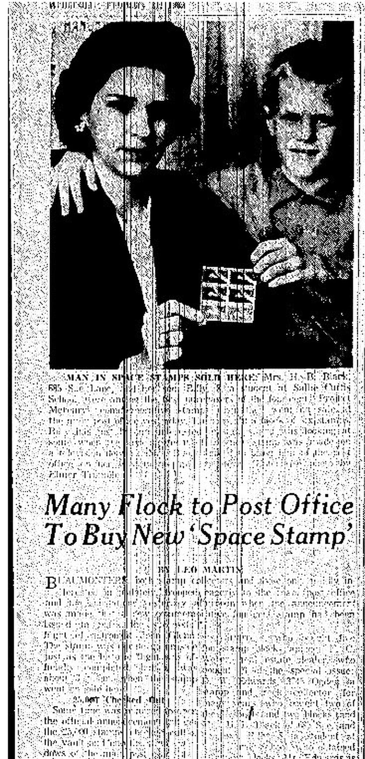 A young Bill Black and his mother Inge Black in a 1962 copy of the Beaumont Enterprise. The two were photogrpahed while purchasing the 4-cent Project Mercury postage stamp at Beaumont's main Post Office. Enterprise file photo