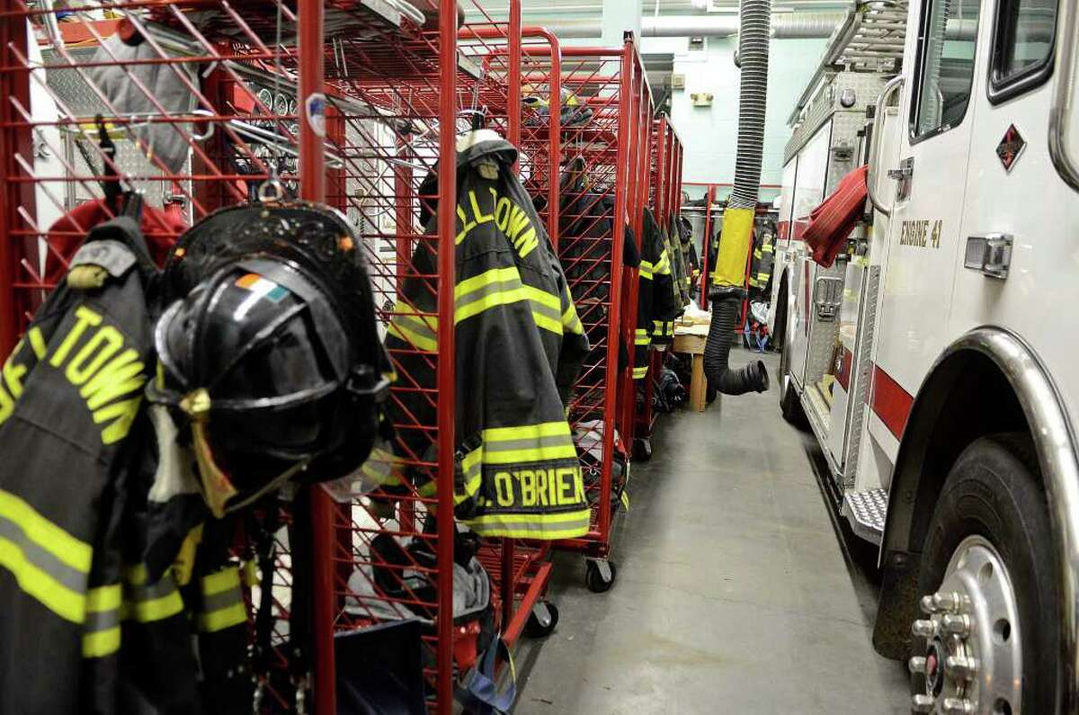 Equipment stands at the ready before the Belltown Fire Department practices search-and-rescue training drills at their firehouse on Dorlen Road in Stamford, CT on Tuesday evening November 1, 2011. A male Belltown volunteer firefighter was suspended Monday, February 20, 2012 pending a police investigation into a complaint of
