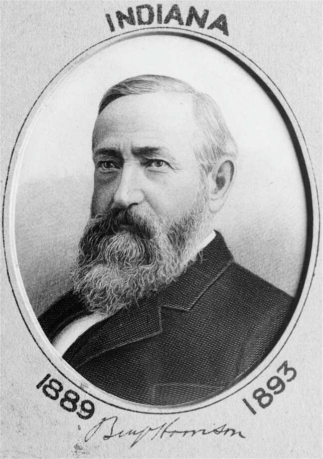 "Benjamin Harrison used a Bible provided by the clerk of the Supreme Court, open to Psalm 121:1-6. ""The Lord watches over you - the Lord is your shade at your right hand; the sun will not harm you by day, nor the moon by night."" Photo: Anonymous, ASSOCIATED PRESS / AP"