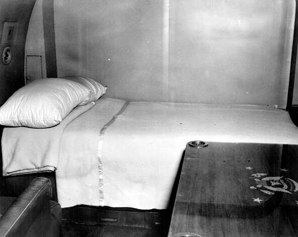 The president's bunk aboard the Sacred Cow is shown, circa 1946. Photo: Truman Library