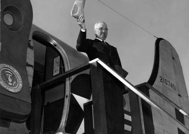 President Truman waving goodbye as he departs Boca Chica airport, in the Dominican Republic, aboard the Sacred Cow in 1948. Photo: Truman Library