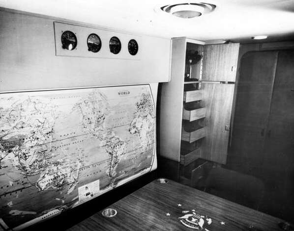 "The Truman Library identifies this photo as being the stateroom of the Sacred Cow is shown, circa 1946, and also as the interior of Truman's subsequent airpalne ""The Independence."" Photo: Truman Library"