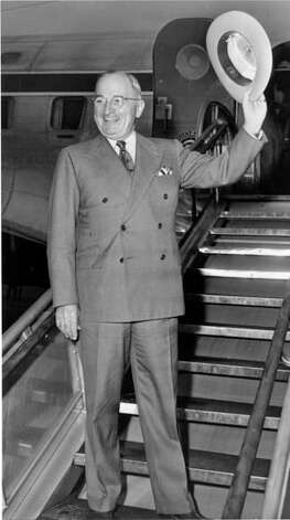 President Harry Truman on the stairs of the Independence. Photo: Truman Library