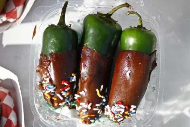 Chocolate Dipped Jalapenos from Mad Hatter Funnel Cakes (Michael Paulsen / chron.com)