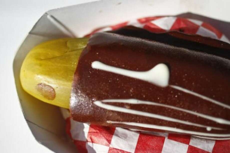Chocolate covered pickle from Mad Hatter Funnel Cakes