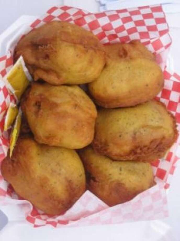Deep fried mini cheeseburgers.