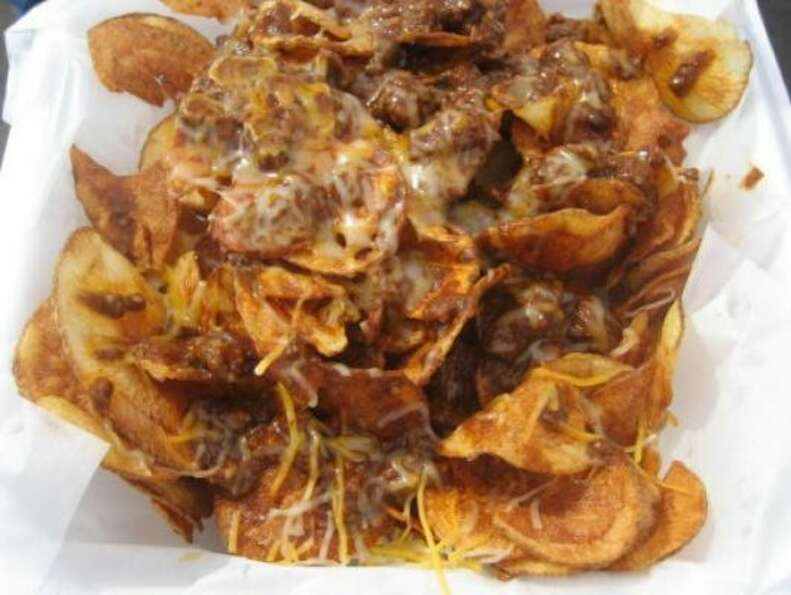 Hand cooked potato chips load with chopped beef and cheese. (chron.com)