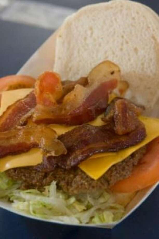 A bacon cheeseburger with Blue Ribbon Bacon from Bum's Blue Ribbon Grill