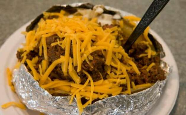 A barbecue-stuffed potato from the Yoakum Packing Co.