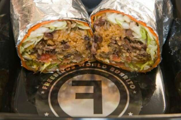 A steak burrito from the Freebirds World Burrito booth. (Steve Campbell / chron.com)