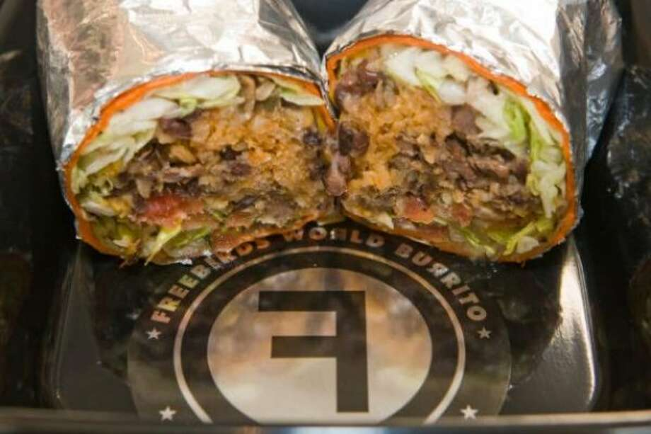 A steak burrito from the Freebirds World Burrito booth.