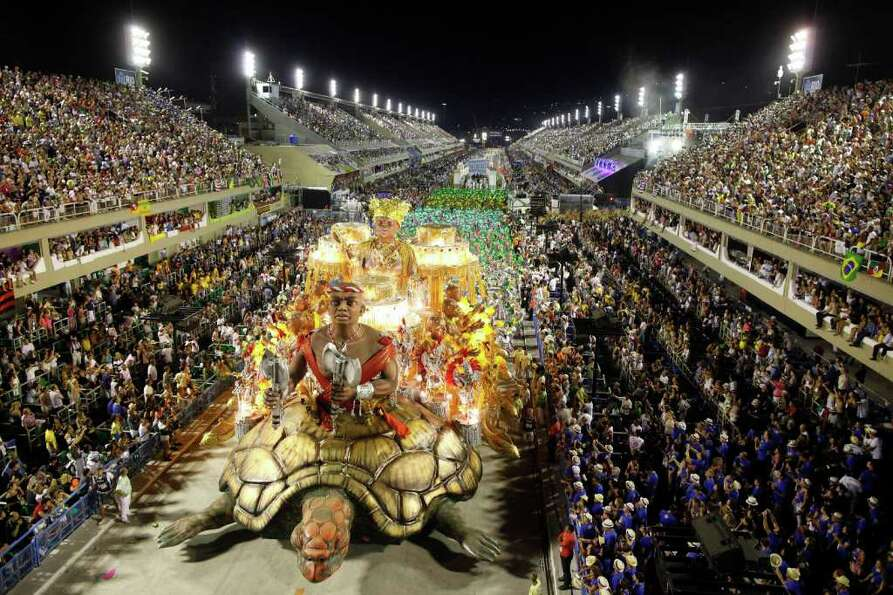 The Imperatriz Leopoldinense samba school parades during carnival celebrations at the Sambadrome in