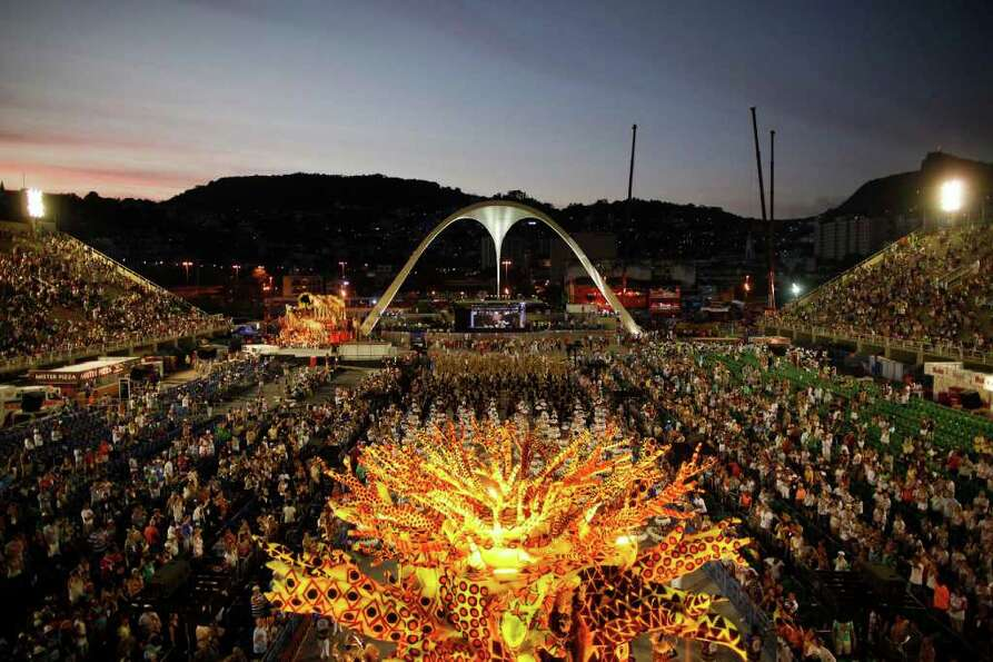 Dancers of Vila Isabel samba school parade during carnival celebrations at the Sambadrome in Rio de