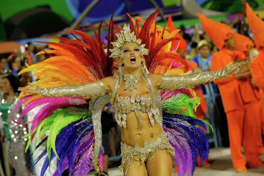 Drum queen Antonia Fontenelle, from Mocidade Independente de Padre Miguel samba school, dances during carnival parade at the Sambadrome in Rio de Janeiro, Brazil, Sunday, Feb. 19, 2012. (AP Photo/Silvia Izquierdo) Photo: Silvia Izquierdo, ASSOCIATED PRESS / Associated Press
