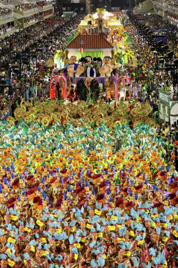 The Imperatriz Leopoldinense samba school parades during carnival celebrations at the Sambadrome in Rio de Janeiro, Brazil, Monday Feb. 20, 2012. (AP Photo/Felipe Dana) Photo: Felipe Dana, ASSOCIATED PRESS / Associated Press