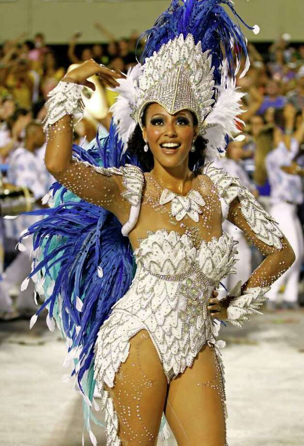 Drum queen Sheron Menezzes from the Portela samba school dances during a carnival parade at the Sambadrome in Rio de Janeiro, Brazil, Monday Feb. 20, 2012. (AP Photo/Victor R. Caivano) Photo: Victor R. Caivano, ASSOCIATED PRESS / Associated Press