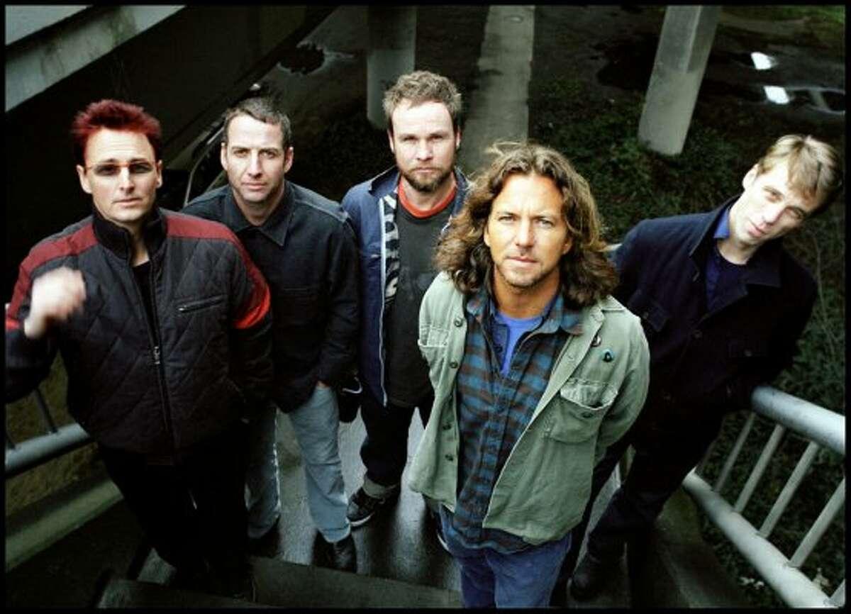 Pearl Jam, from left: Mike McCready, Stone Gossard, Jeff Ament, Eddie Vedder, Matt Cameron. (seattlepi.com file)