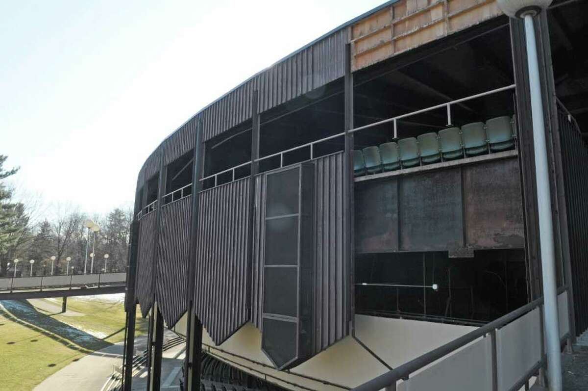 A view of the Saratoga Performing Arts Center at Spa State Park with a piece of the facade removed as renovations have begun on the facade of the structure, seen here on Monday, Feb. 20, 2012 in Saratoga Springs, NY. (Paul Buckowski / Times Union)